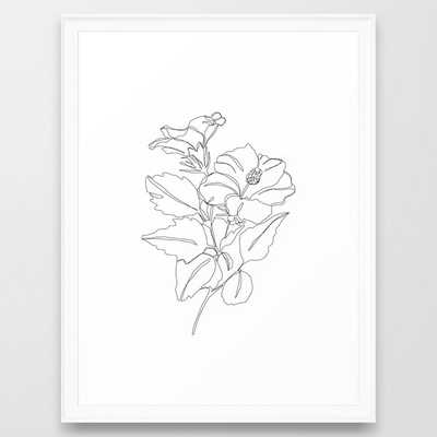 Floral one line drawing - Hibiscus Framed Art Print, FRAME Scoop White,  20 x 26 - Society6