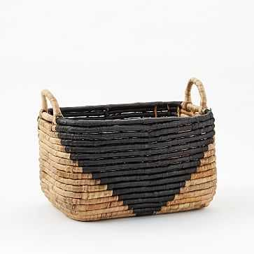"Two-Tone Seagrass Baskets, Medium Rectangle, 10"" - West Elm"