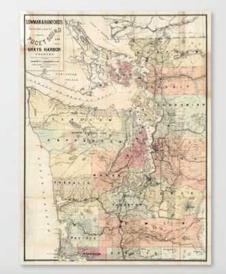 Vintage Map of The Puget Sound (1891) Canvas Print - Society6