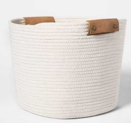 "Decorative Coiled Rope Square Base Tapered Basket Medium White 13"" - Threshold™ - Target"