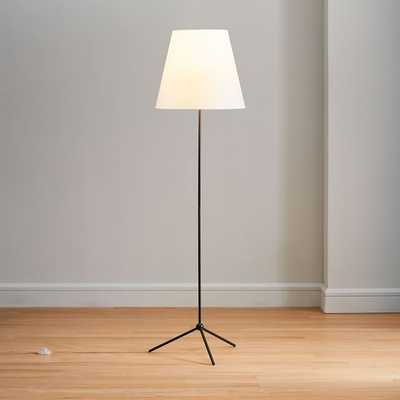 Tapered Shade Floor Lamp, White Linen, Dark Bronze - West Elm