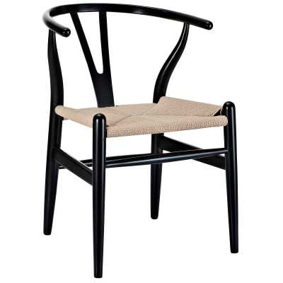 AMISH DINING WOOD ARMCHAIR IN BLACK - Modway Furniture