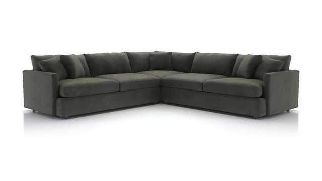 Lounge II 3-Piece Sectional Sofa - Pewter - Crate and Barrel