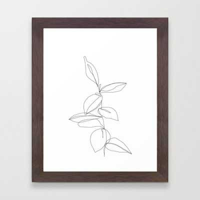 One line minimal plant leaves drawing - Berry Framed Art Print - Society6