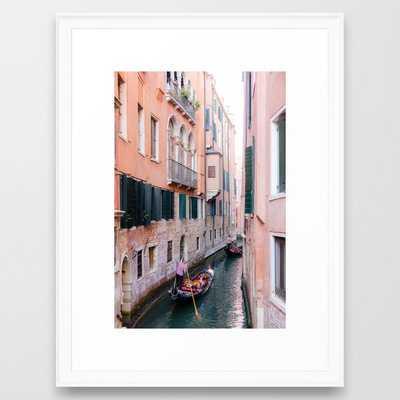 "Venice Gondola Rides in Pink Framed Art Print - Scoop White 20""x26"" - Society6"
