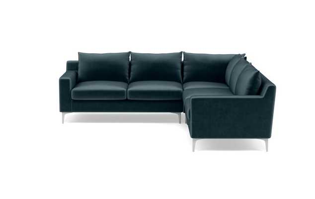 Sloan Corner Sectional with Blue Sapphire Fabric and chrome legs - Interior Define
