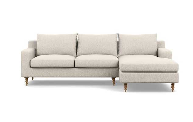 SLOAN Sectional Sofa with Right Chaise - 96''- Wheat Cross Weave - Natural Oak Tapered Turned Wood - Interior Define