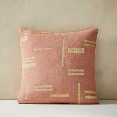 """Embroidered Metallic Blocks Pillow Cover, 24""""x24"""", Pink Stone - West Elm"""