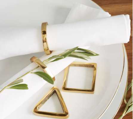 Stackable Napkin Rings, Set of 4, Brass - West Elm