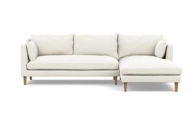 Caitlin by The Everygirl Sectional Sofa with Right Chaise in Cirus with Natural Oak Leg - Interior Define
