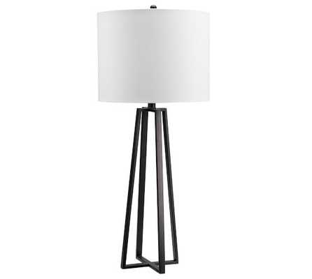 Carter Table Lamp, Bronze With Ivory Shade - Pottery Barn
