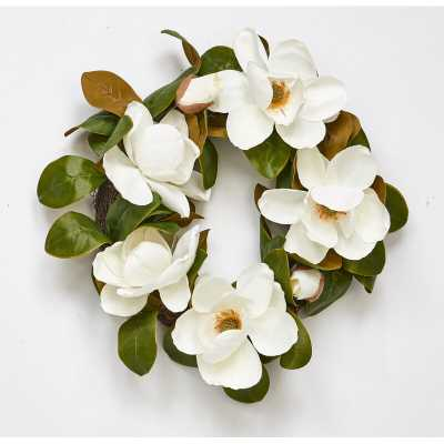 "22"" Magnolia Flower Wreath - Wayfair"