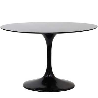 "LIPPA 48"" ROUND FIBERGLASS DINING TABLE IN BLACK - Modway Furniture"