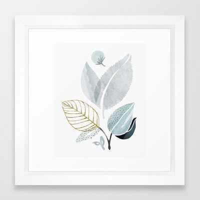 Sage and Such - Abstract Watercolor Botanical Framed Art Print - Vector White - Society6