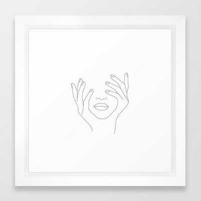 Minimal Line Art Woman with Hands on Face Framed Art Print (Vector White Frame) - Society6