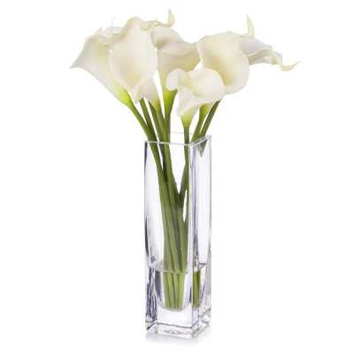 Real Touch Calla Lily Flower Arrangement in Clear Glass Vase - Overstock