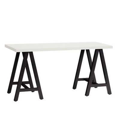 Customize-It Simple A Frame Desk, Simply White Desktop / Matte Black Base - Pottery Barn Teen