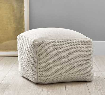 """Braided Hand Woven Pouf, 22x22x14"""", Ivory - Pottery Barn"""