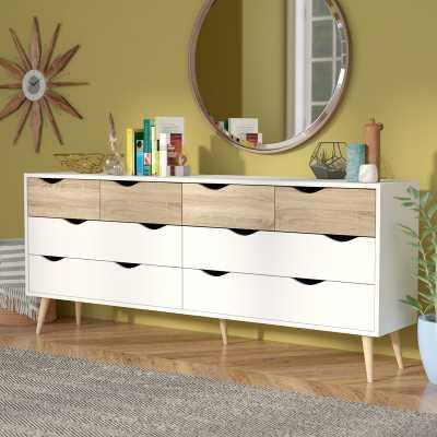 Langley Street Mateer 8 Drawer Dresser in White/Oak - AllModern