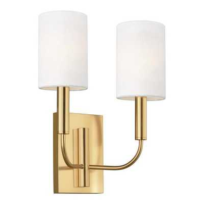 ED Ellen DeGeneres Crafted by Generation Lighting Brianna 11.375 in. W 2-Light Burnished Brass Sconce with White Shades - Home Depot
