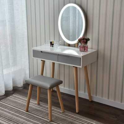 Howey Vanity Set with Stool and Mirror - Wayfair