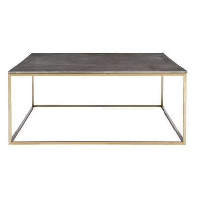 "Hudsonhill Foundry Trebon 38""W Charcoal Gray and Brass Coffee Table - Style # 78D48 - Hudsonhill Foundry"