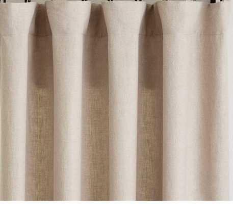 "Custom Classic Belgian Flax Linen Curtain, 66""x115"", Dark Flax - Pottery Barn"