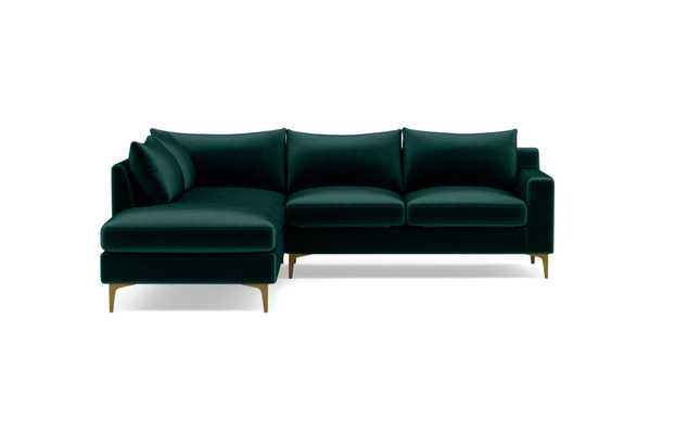 SLOAN_3-Seat Left Bumper Sectional_Malachite_Mod Velvet - Interior Define