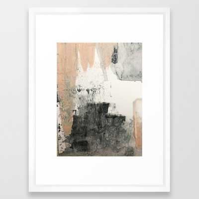 Peace And Quiet [1]: A Pretty, Minimal Abstract Piece In Gray And Peach By Alyssa Hamilton Art Framed Art Print by Alyssa Hamilton Art - Vector White - MEDIUM (Gallery)-20x26 - Society6