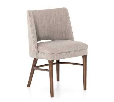 Manteli Upholstered Dining Chair, Savile Flannel & Almond - Pottery Barn