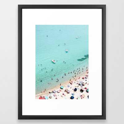 Beach Day Framed Art Print - 20x26 - Vector White - Society6