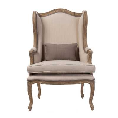 Oreille French Inspired Beige Fabric Upholstered Accent Chair - Home Depot