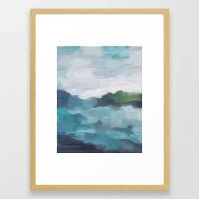 "Aqua Blue Green Abstract Art Painting Framed Art Print- FRAME Conservation Natural- SIZE Medium (gallery) - 20"" X 26"" - Society6"