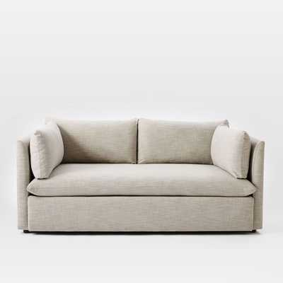 Shelter Loveseat, Basket Slub, Feather Gray - West Elm