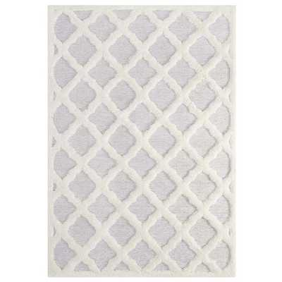 REGALE ABSTRACT MOROCCAN TRELLIS 8X10 SHAG AREA RUG IN IVORY AND LIGHT GRAY - Modway Furniture