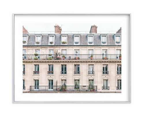 "Days In Paris - 18"" x 24""- Crema - brushed silver frame, white border - Minted"