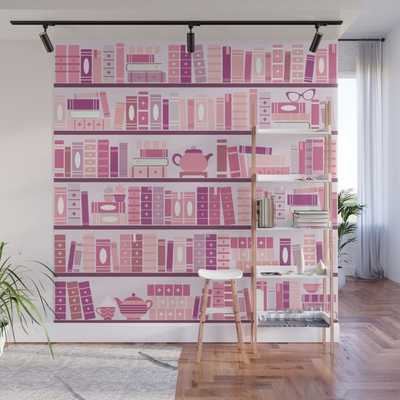 Bookcase Pattern Romance Pink Books Wall Mural - Peel and Stick - Society6