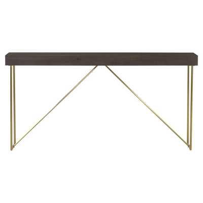 Thomas Bina Bridge Modern Classic Wood Top Gold Metal Base Console Table - Kathy Kuo Home
