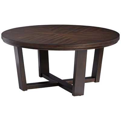 """Conrad 40"""" Wide Dark Brown Wood Round Coffee Table - Style # 56K68 - Lamps Plus"""