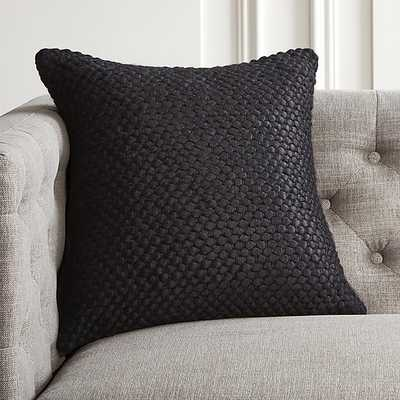 "18"" REMY BLACK PILLOW WITH DOWN-ALTERNATIVE INSERT - CB2"