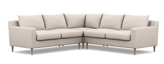 Sloan Corner Sectional - Wheat Cross Weave - Natural Oak Legs - Interior Define