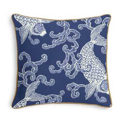 Royal Blue Koi Fish Pillow  with Gilt Metallic Linen Cord and Poly Insert - Loom Decor