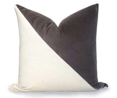 Slash Velvet Pillow Cover 20x20 - Gray - Willa Skye