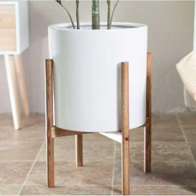 Neill Ceramic Pot Planter - White/Chestnut - Wayfair