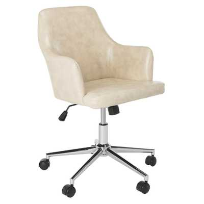Safavieh Cadence Beige/Chrome (Beige/Grey) Swivel Office Chair - Home Depot