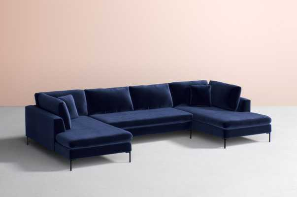 Edlyn Three-Piece U-Shaped Sectional- Sapphire - Anthropologie