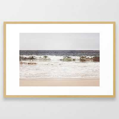 "Neutral Ocean Landscape Photography, Grey Seascape Art, Gray Sea Beach Photo, Coastal Print Framed Art Print -26"" x 38"" - Vector White - Society6"