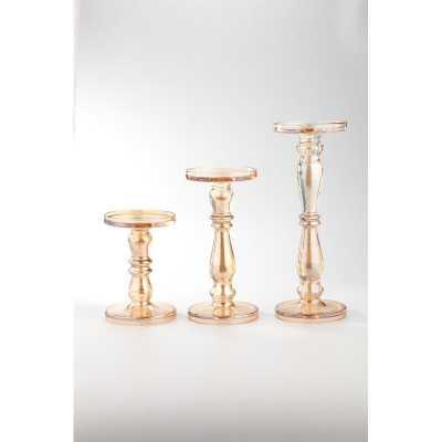 3 Piece Glass Tabletop Candlestick Set - Wayfair