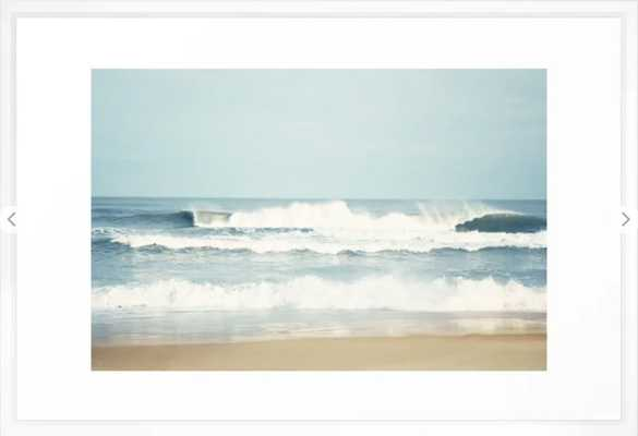 "Ocean Photography, Calming Sea Photo, Blue Waves Seascape Photograph, Beach Print Framed Art Print - 26"" x 38"" - Vector White - Society6"