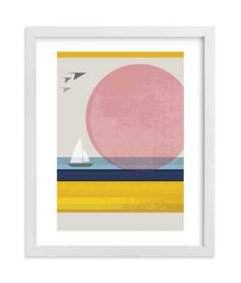 pink horizon  LIMITED EDITION ART - 8x10 White Border and White Wood Frame - Minted